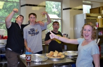 Annie Unruh (right) serves at the Breakfast at St. Paul's during MissionPalooza 2013.