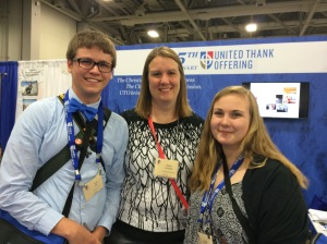 Tyler Kerr, Karen Schlabach, and Greta Carlson at the United Thank Offering Booth at General Convention 2015.