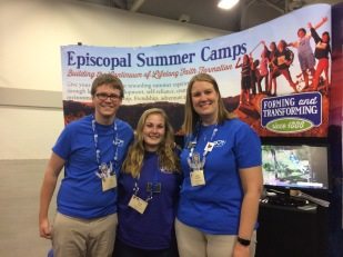 Tyler Kerr, Greta Carlson, and Karen Schlabach at the Episcopal Camps and Conference Center booth at General Convention 2015.